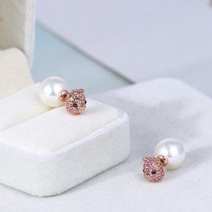 Kate Spade Pink Diamond Pig Earrings